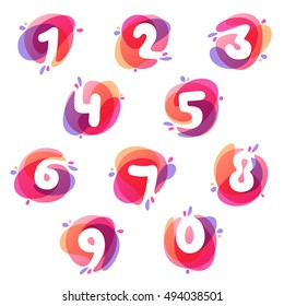 Numbers set logos at colorful watercolor splash background. Vector elements for posters, t-shirts and cards.