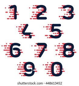 Numbers set logos with fast speed lines.. Colorful vector design for banner, presentation, web page, card, labels or posters.