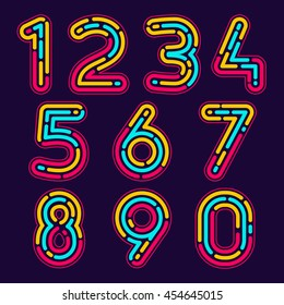 Numbers set logos formed by neon line or fingerprint. Vector design for banner, presentation, web page, card, labels or posters.