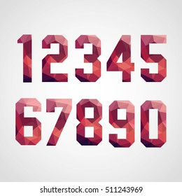 Numbers set in modern polygonal crystal style. Vector illustration colorful bright number design. For party poster, greeting card, banner or invitation. Cute numerical icons and sign.