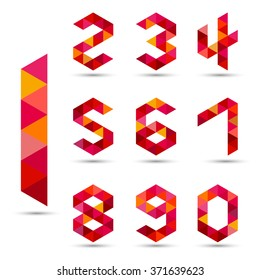 Numbers set in modern polygonal  style, vector illustration