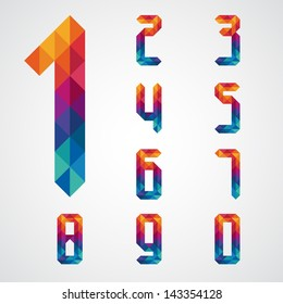 Numbers set modern style. Vector illustration.