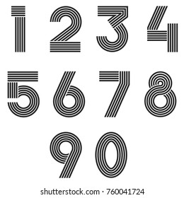 Numbers set thin line monogram math symbols, linear black and white typography design element mathematics symbols 1, 2, 3, 4, 5, 6, 7, 8, 9, 0