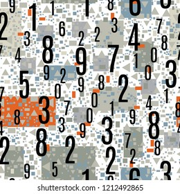 Numbers Shapes Seamless Pattern in Vector, Numeral Seamless Wallpaper Pattern, Black and White Seamless Figures Vector Background, Mathematics Background, Different Numbers in Random Pattern