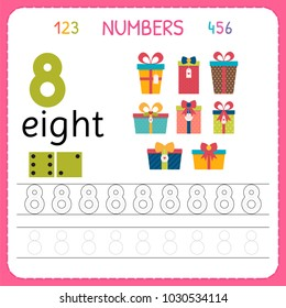 Numbers tracing worksheet for preschool and kindergarten. Writing number Eight. Exercises for kids. Mathematics games. Vector illustration