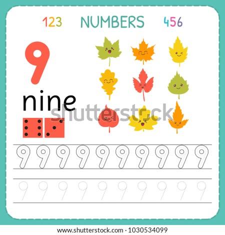 Numbers Tracing Worksheet For Preschool And Kindergarten Writing Number Nine Exercises Kids