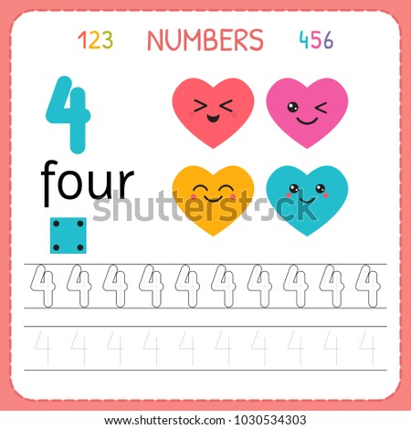 Numbers Tracing Worksheet For Preschool And Kindergarten Writing Number Four Exercises Kids