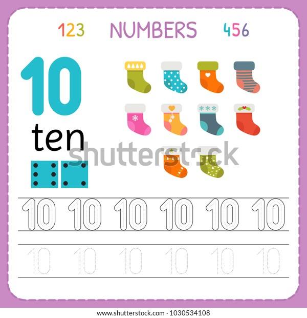 Numbers Tracing Worksheet Preschool Kindergarten Writing Stock Vector  (Royalty Free) 1030534108