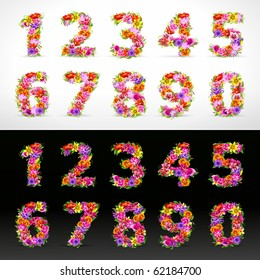 numbers, vector colorful flower font on black and white