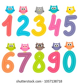 Numbers from zero to nine with cute owls