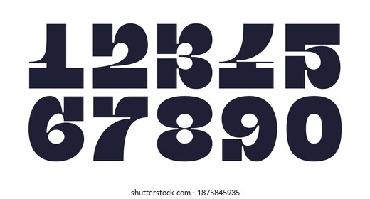 Numeral font. Font of number, numeral, modern fat style with contemporary geometric design. Trendy typographic for magazine cover, poster, banner. Vector Illustration