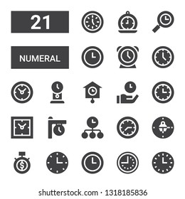 numeral icon set. Collection of 21 filled numeral icons included Wall clock, Clock, Time, Clocks