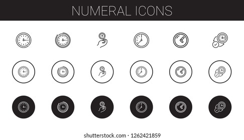 numeral icons set. Collection of numeral with wall clock, clock. Editable and scalable numeral icons.