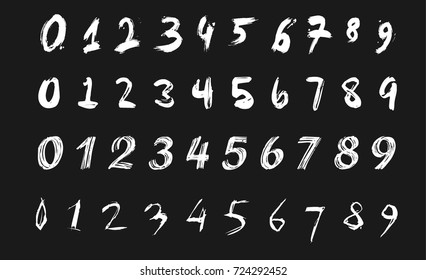 Numeral written by brush and paint. Vector illustration.