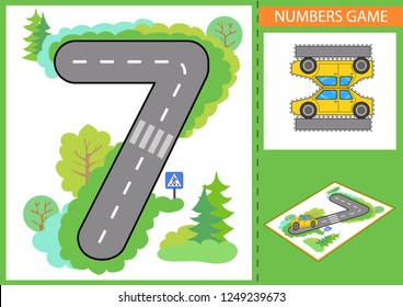 Numerals learn. Children game. Write numbers. Kids road and a paper toy car. Wallpaper for childrens room. Background for gaming car. Maze with road signs. Vector illustration.