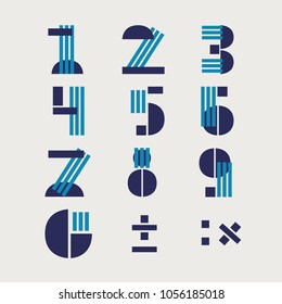 Numerals vector, typography design. Background with set of decorative numbers. Poster with mathematical actions made in modern style. Clean font, flat line style. Clear lines