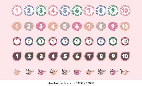 Numeric Heading Icon Set. Natural color