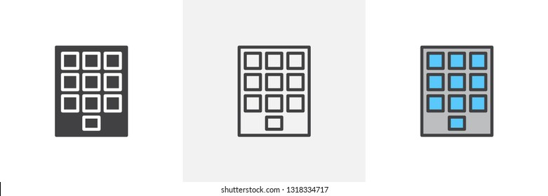 Numeric keypad icon. Line, glyph and filled outline colorful version, keyboard buttons outline and filled vector sign. Symbol, logo illustration. Different style icons set. Pixel perfect vector