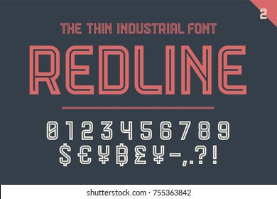 Numeric and symbol font Red Line, Part Two - Numeric, Numbers and Money Symbols. Bold and regular uppercase letters. Strong industrial inline numeric font for creative typographic. Vector Illustration