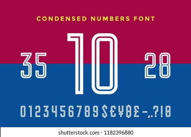 Numeric and symbol font. Sport font with Numeric, Numbers and Money Symbols. Bold and regular uppercase numbers. Strong industrial inline sport font for creative typographic. Vector Illustration