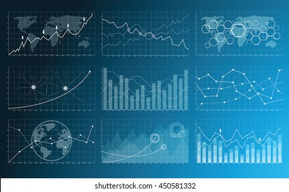 Numerous charts, screens and graphics background interface