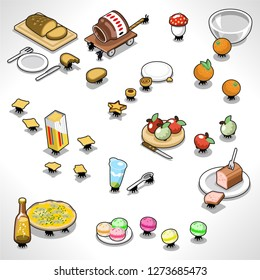 Numerous picnic ants taking away food like bread, apples, macarons, pizza and beer (vector cartoon)