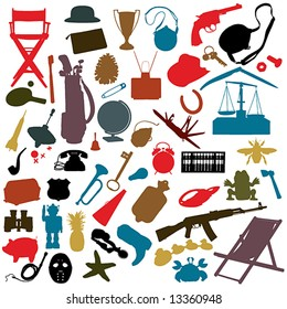 numerous random objects in silhouette: NO auto-trace: HIGH QUALITY vector paths.See also my Shutterstock files #13963618,  #13360951, #14051254, #19737103, #26799640