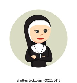 nun in circle background