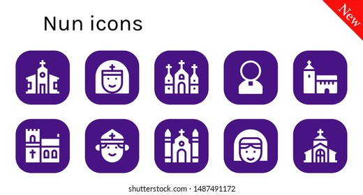 nun icon set. 10 filled nun icons.  Collection Of - Church, Nun, Priest