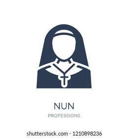 Nun icon. Trendy flat vector Nun icon on white background from Professions collection, vector illustration can be use for web and mobile, eps10