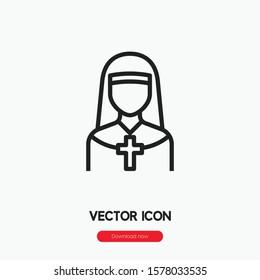 Nun icon vector. Nun symbol. Linear style sign for mobile concept and web design. Nun symbol illustration. Pixel vector graphics - Vector.