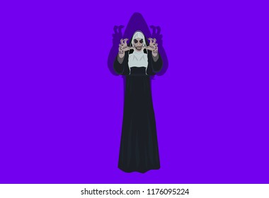 Nun nurse female possessed by the demon Halloween party costume reaching out hands to grab you