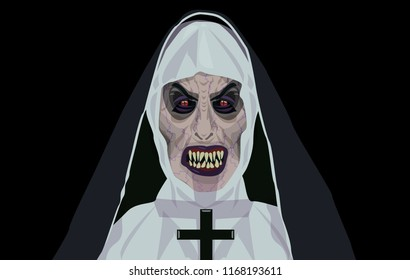 Nun nurse Halloween costume possessed by the demon