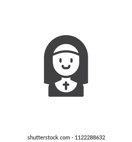 Nun smiling vector icon. filled flat sign for mobile concept and web design. Profession simple solid icon. Symbol, logo illustration. Pixel perfect vector graphics