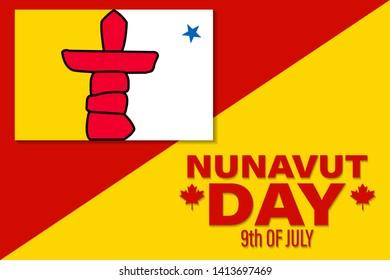 Nunavut Day. Greeting card, banner, vector illustration.