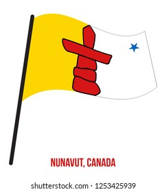 Nunavut Flag Waving Vector Illustration on White Background. Territory Flag of Canada. Correct Size, Proportion and Colors.