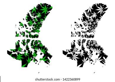 Nunavut (provinces and territories of Canada, Canadian Arctic Archipelago) map is designed cannabis leaf green and black, Nunavut map made of marijuana (marihuana,THC) foliage,