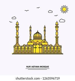 NUR ASTANA MOSQUE Monument Poster Template. World Travel Yellow illustration Background in Line Style with beauture nature Scene