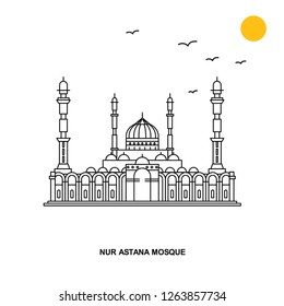 NUR ASTANA MOSQUE Monument. World Travel Natural illustration Background in Line Style
