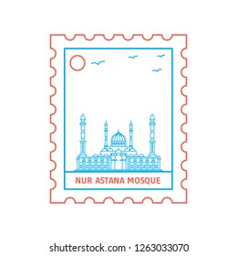 NUR ASTANA MOSQUE postage stamp Blue and red Line Style, vector illustration