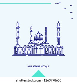NUR ASTANA MOSQUE skyline vector illustration