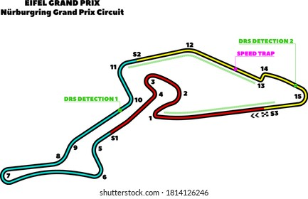 Nurburgring, Eifel Grand Prix circuit. Vector illustration of an race track