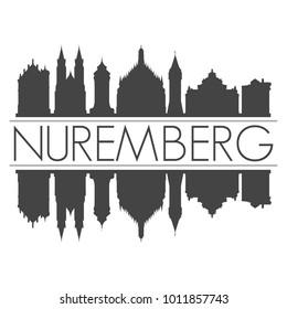 Nuremberg Germany Europe Skyline Vector Art Mirror Silhouette Emblematic City Buildings