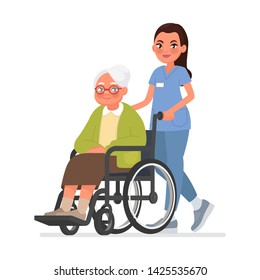 Nurse carries a grandmother in a wheelchair. Old woman in rehabilitation on a hospital. Caring for the elderly. Vector illustration in cartoon style
