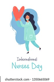 Nurse character with the strong heart vector flat design illustration. International nurses day greeting card.