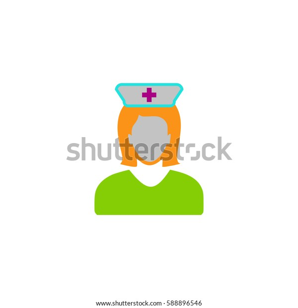 Nurse. Color symbol icon on white background. Vector illustration