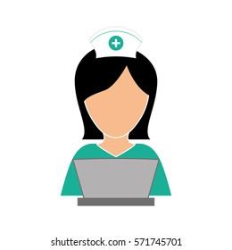 nurse in computer icon image, vector illustration design