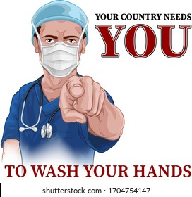 A nurse or doctor in surgical or hospital scrubs and mask pointing in a your country needs or wants you gesture. With the message to wash your hands
