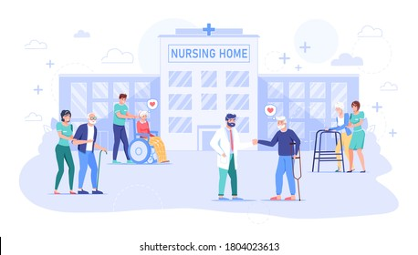 Nurse, doctor taking care about senior grandmother, grandfather in hospital. Nursing home building exterior. Rehabilitation, health care for old, sick, disabled people. Center for retired man, woman