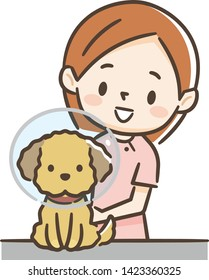 Nurse and dog with elizabethan collar